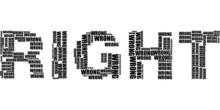 Schriftzug right-wrong (c)